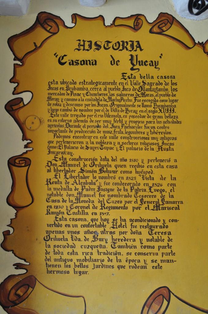 La historia de Yucay a la entrada de la casona
