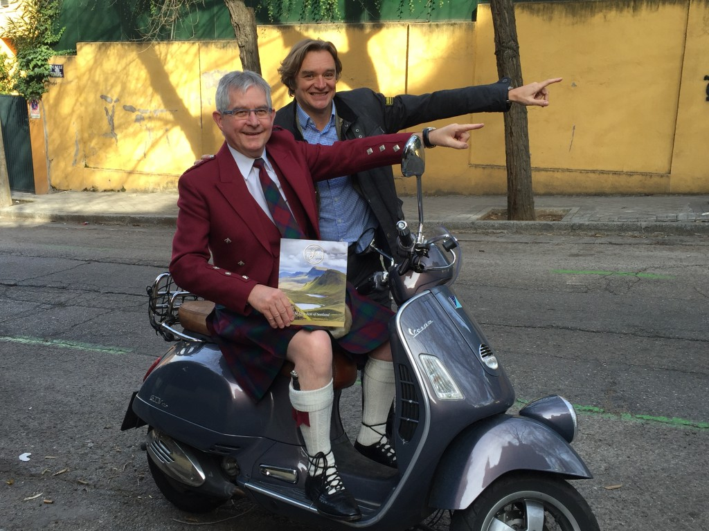 Jeremy and Alfonso leading the way to Scotland at the be marketing Vespa.
