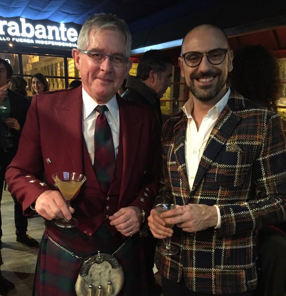 Jeremy and David , two scottish-dressed stylish Men.